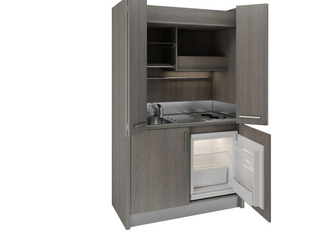 Mini cucina a scomparsa Brianza 43 con ante aperte e lavabo a sinistra