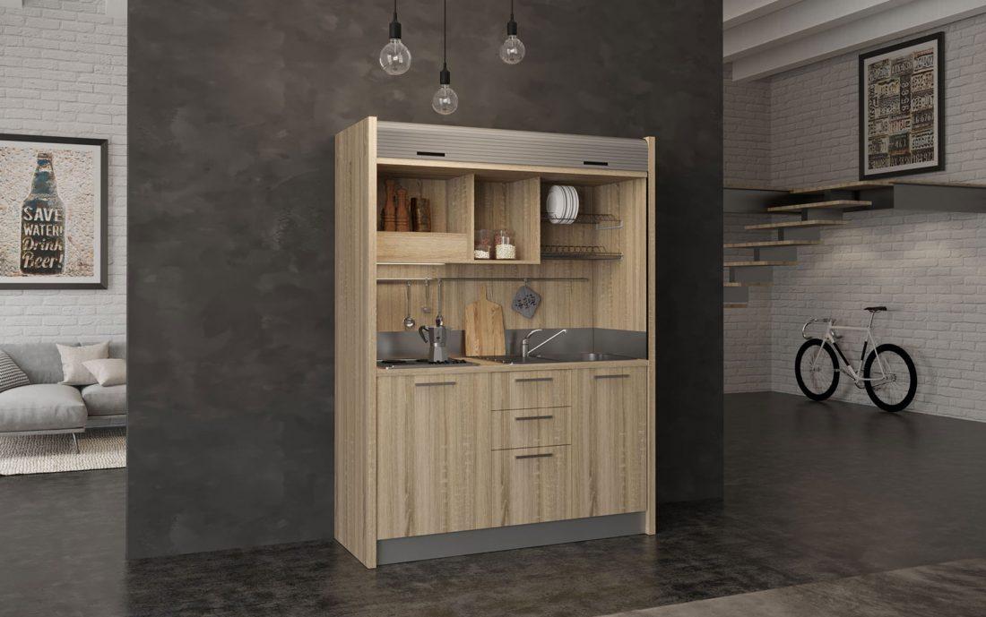 Chianti - cucina a scomparsa in legno 4 fuochi per residence