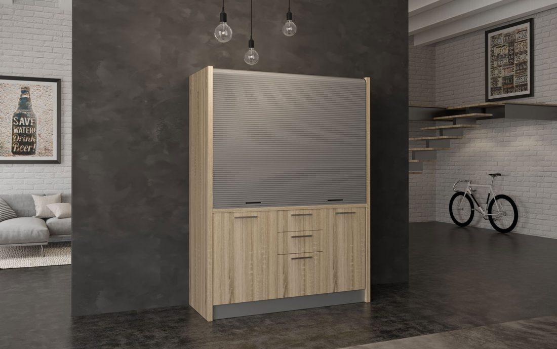 Chianti - mini cucina con chiusura a serranda legno chiaro
