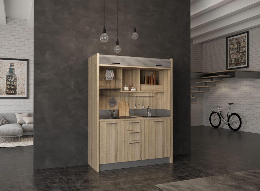 Mini cucina a scomparsa Chianti 08 con lavabo a sinistra
