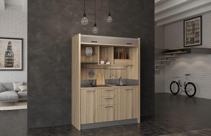 Chianti - cucina a scomparsa compatta in legno con serrandina