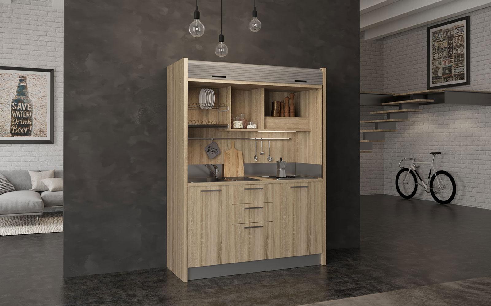 Chianti SX - Mini cucina nascosta 1 metro e 60 con chiusura a serranda