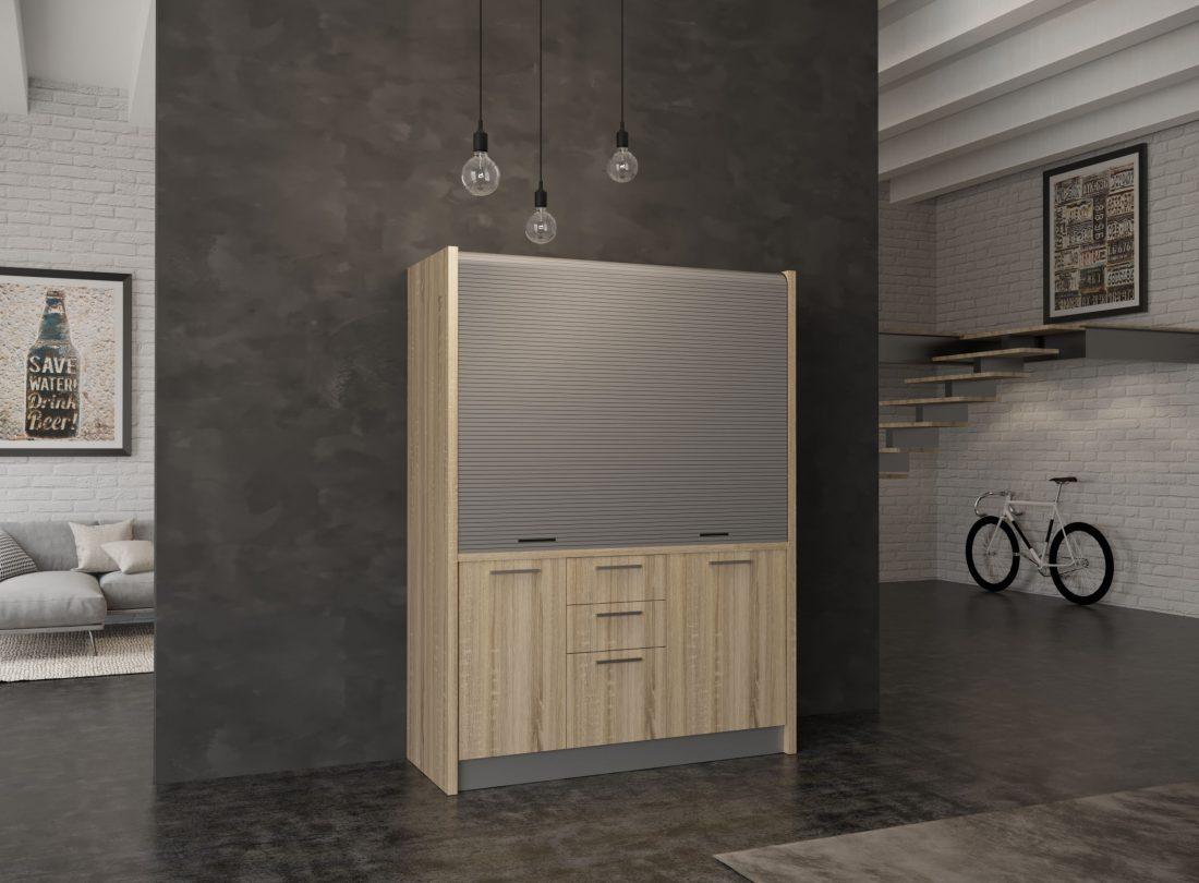 Mini cucina Chianti 08 con serranda chiusa e cassettiera a vista