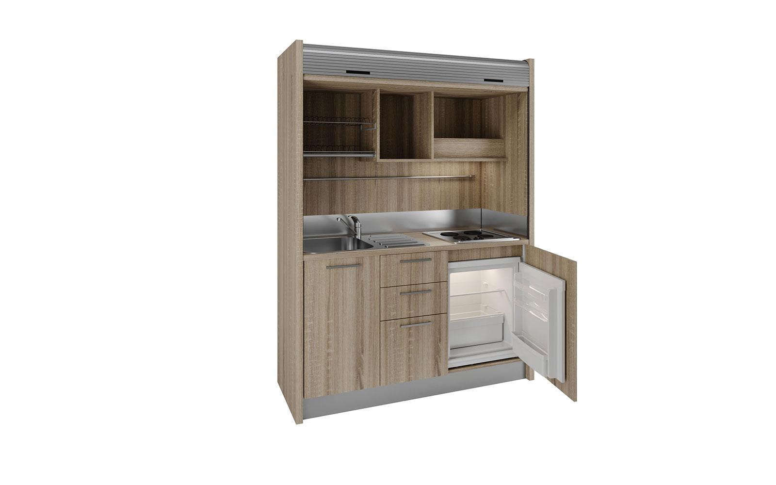 Chianti SX – Mini cucina nascosta a 4 fuochi con serrandina in 1 metro e  60cm