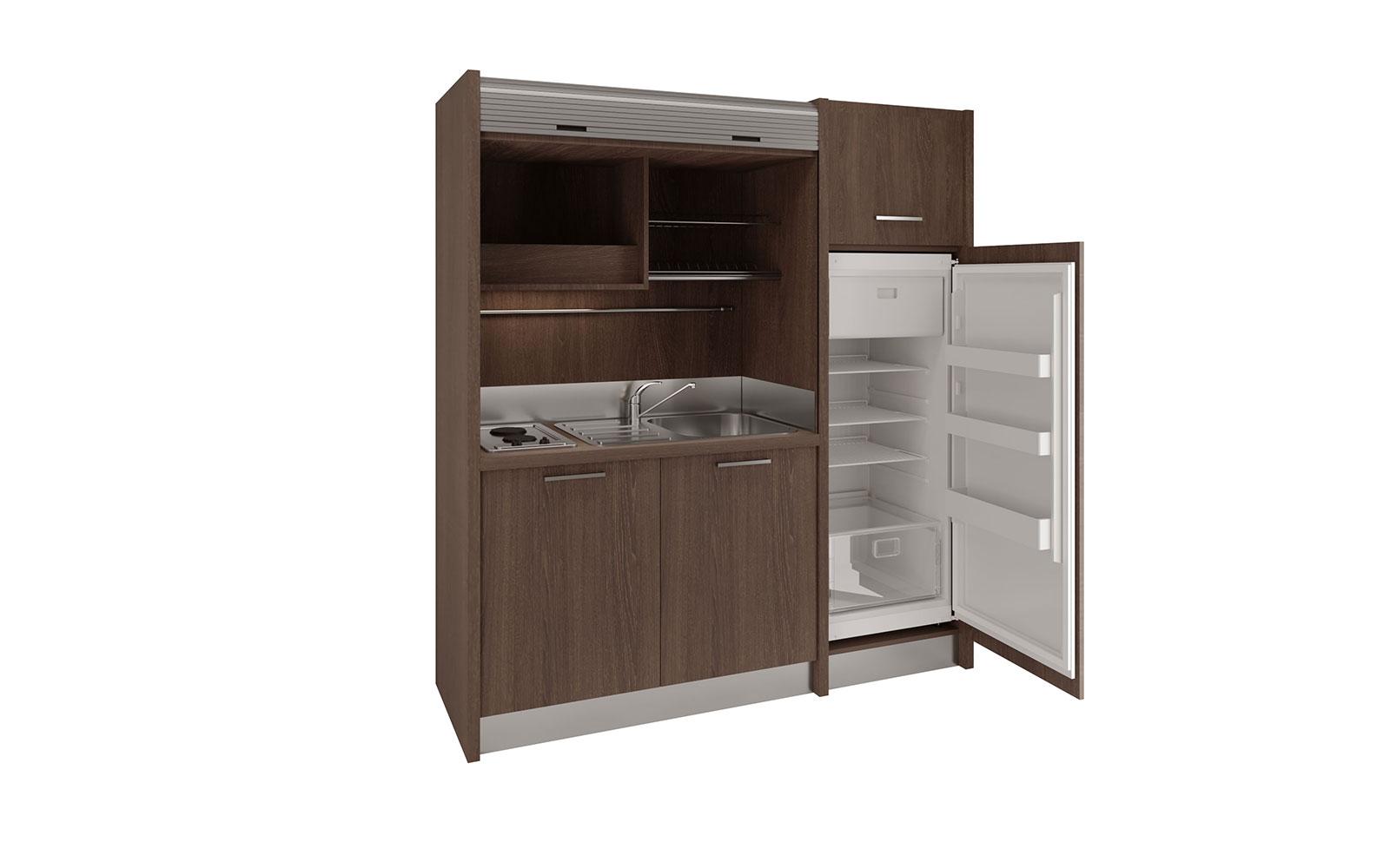 Conero DX - Cucina monoblocco a scomparsa 192cm con frigo verticale