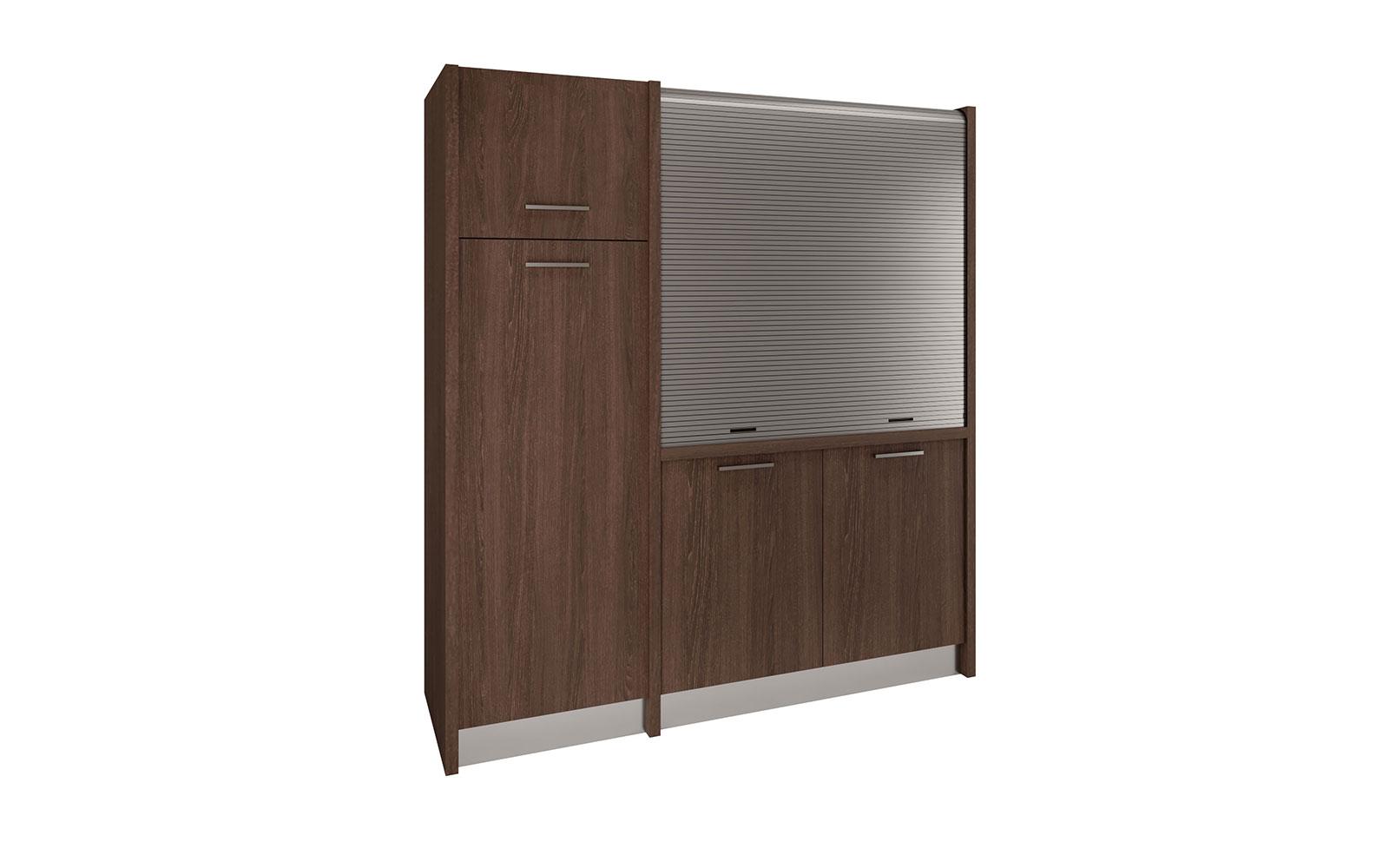 Conero SX - Cucina monoblocco con serranda e frigo a colonna in meno di 2  metri