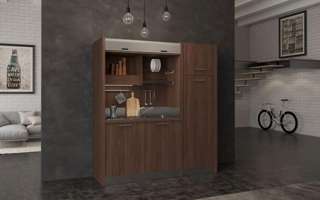 Conero - cucina a scomparsa con frigorifero verticale