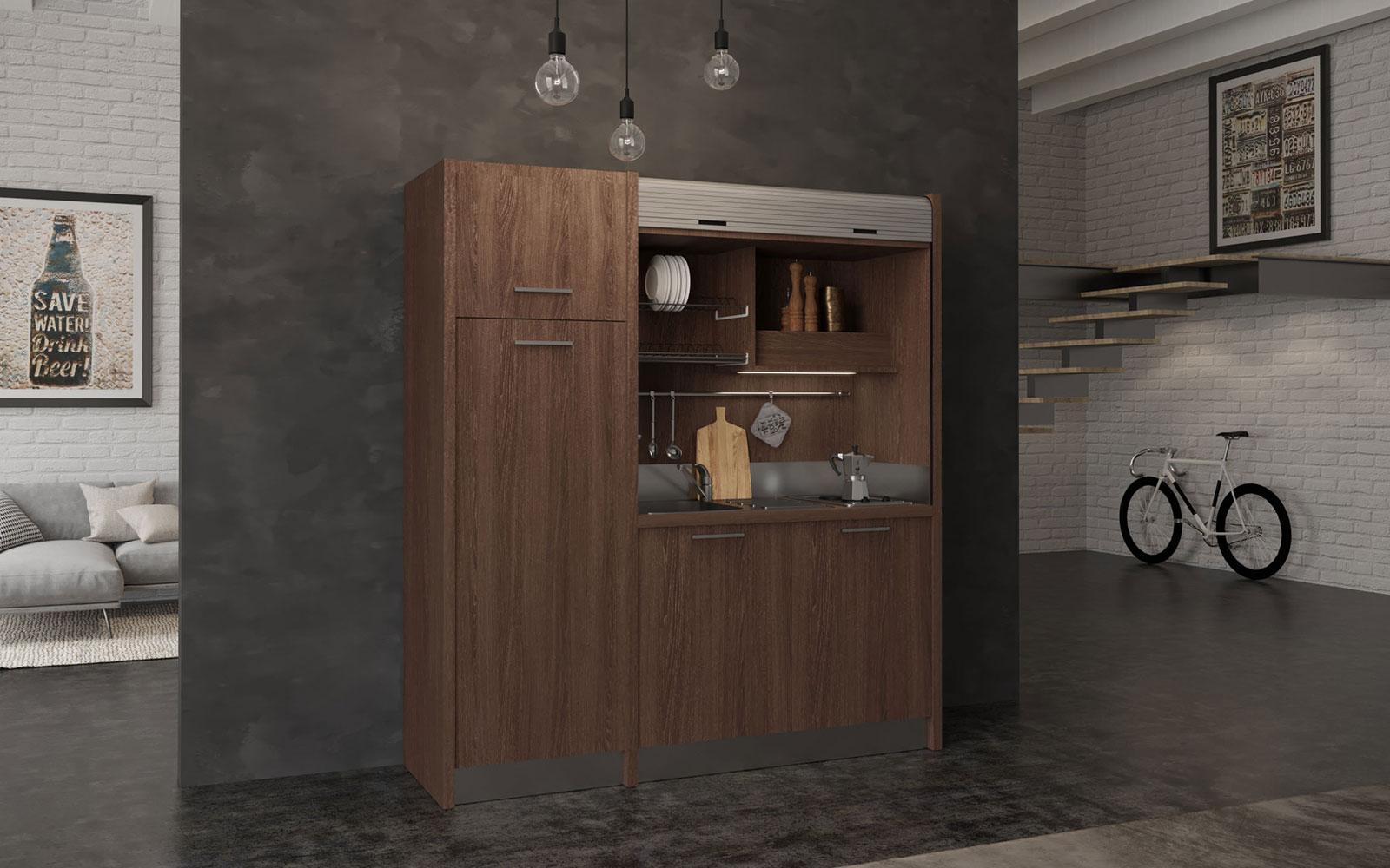 Conero SX - Cucina monoblocco a scomparsa 192cm 4 fuochi frigo alto