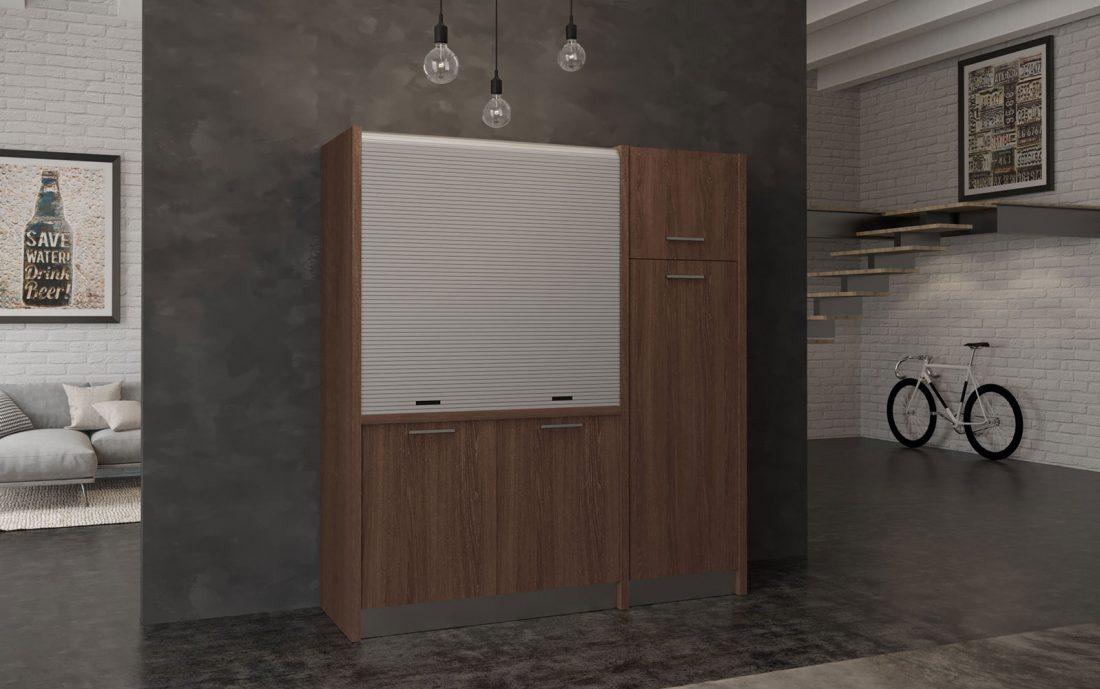 Conero - cucina monoblocco finitura effetto legno scuro