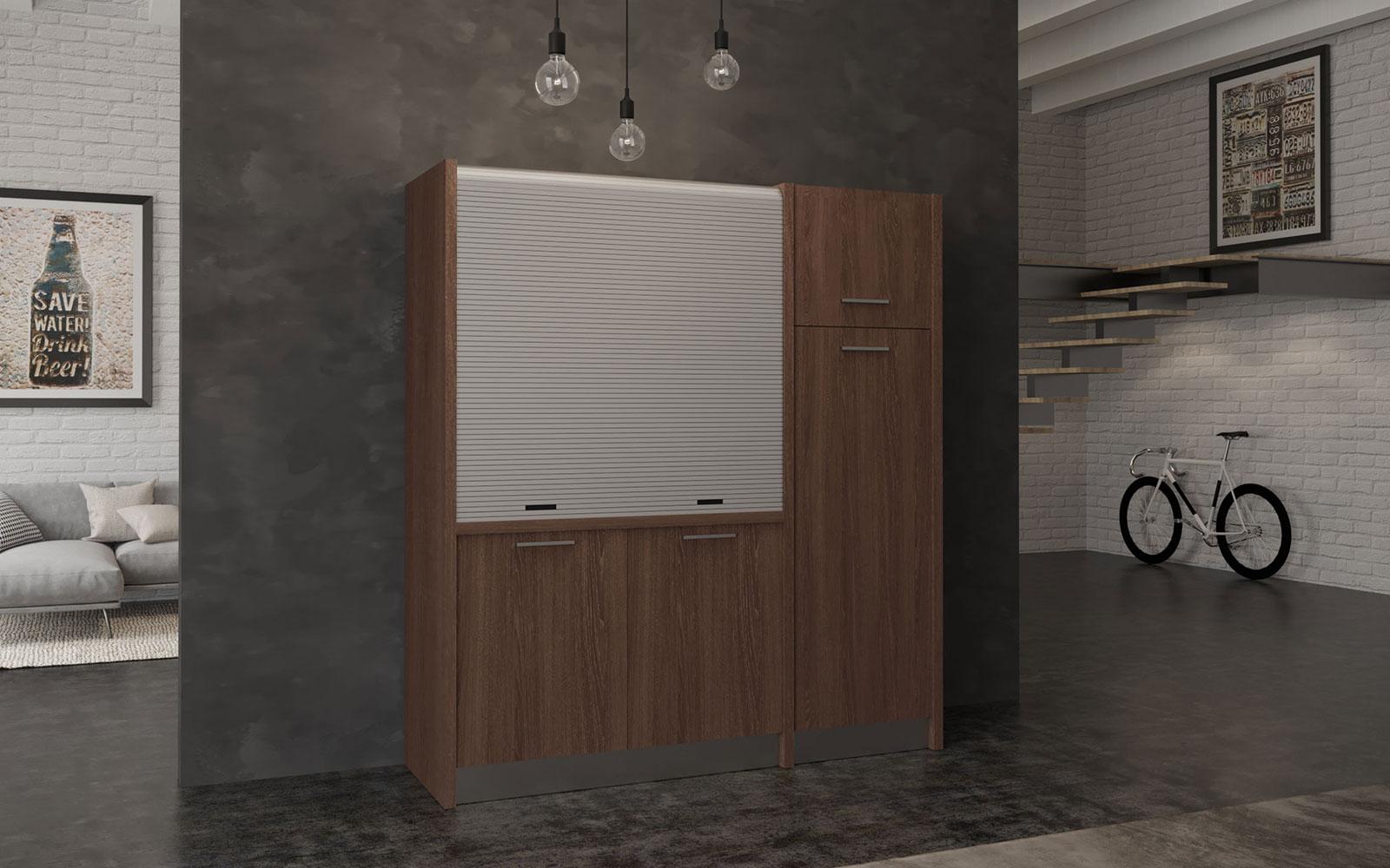 Conero DX - Cucina monoblocco a scomparsa con serranda e frigo a colonna  larghezza 192cm