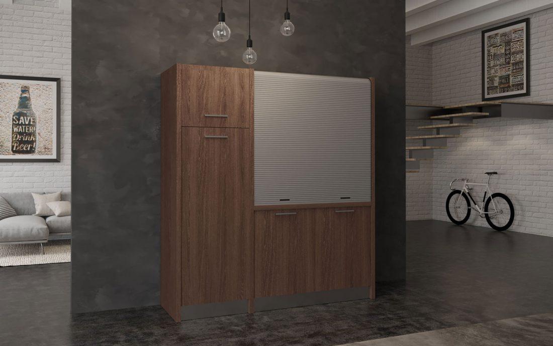 Conero – cucina monoblocco richiudibile con serranda