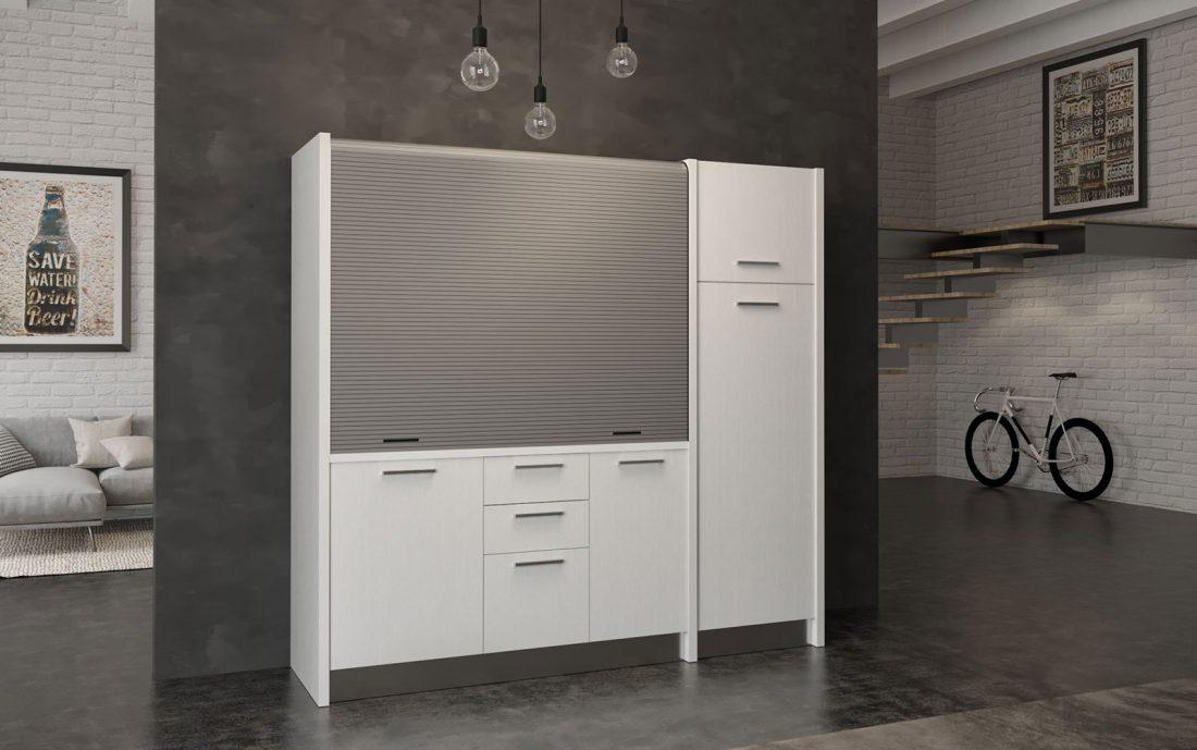 Gallura - cucina chiudibile con serranda colore bianco