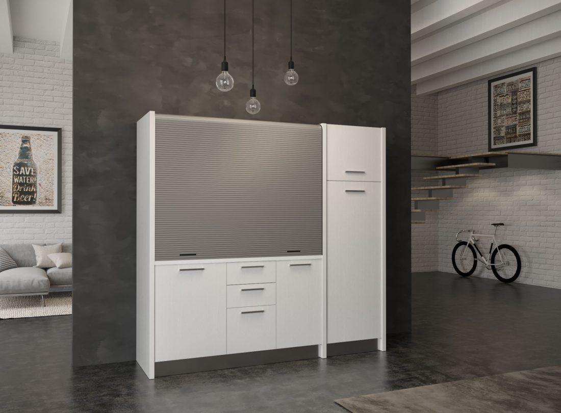 Cucina a scomparsa Gallura 20 versione destra con grande frigo a colonna