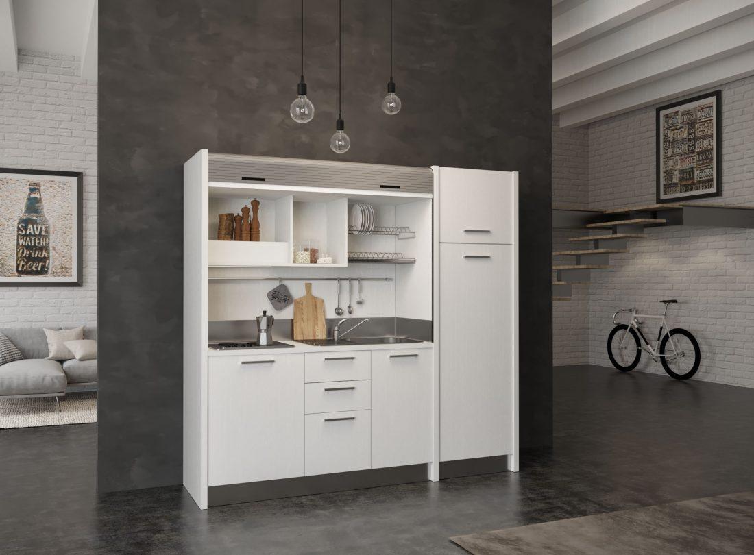 Cucina Gallura 20 in versione con lavabo a destra e piano 4 fuochi