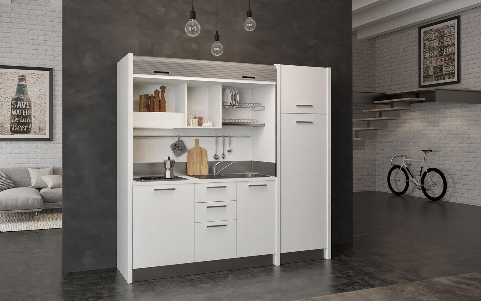 Gallura DX - Cucina per monolocali completa con chiusura a serranda in 2  metri e 20cm