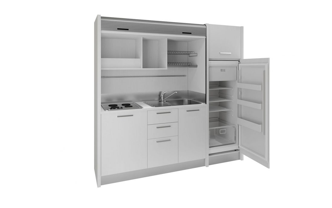 Gallura - cucina monoblocco compatta finitura bianca