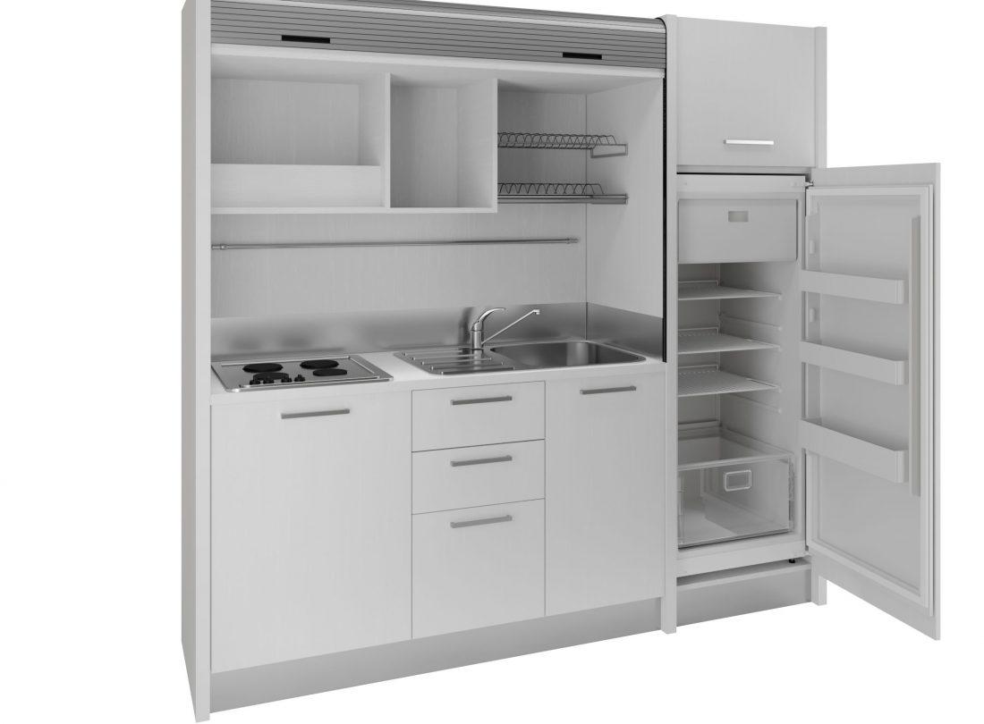 Cucina monoblocco a scomparsa bianca completa di tutto con lavabo a destra