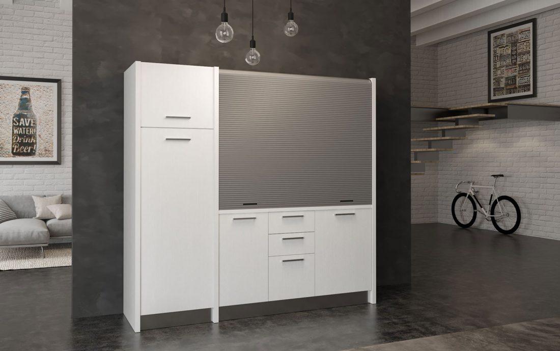 Gallura - cucina monoblocco bianca con serranda