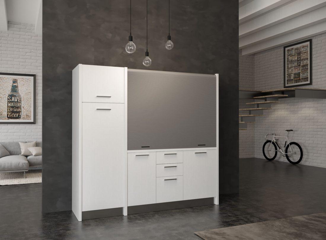 Cucina a scomparsa Gallura 20 versione sinistra con grande frigo a colonna