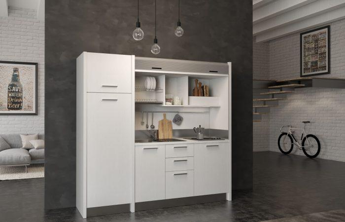 Gallura - cucina a scomparsa bianca con chiusura a serranda