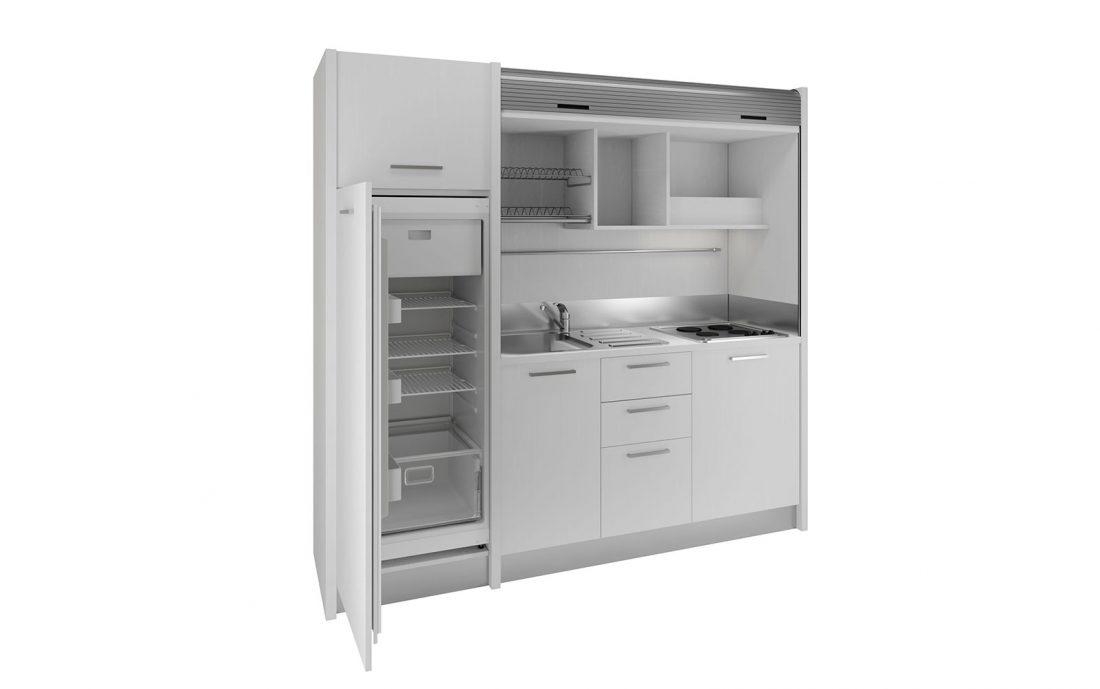 Gallura - grande cucina a scomparsa con frigo a colonna