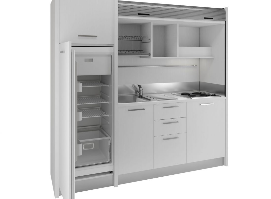 Cucina monoblocco a scomparsa bianca completa di tutto