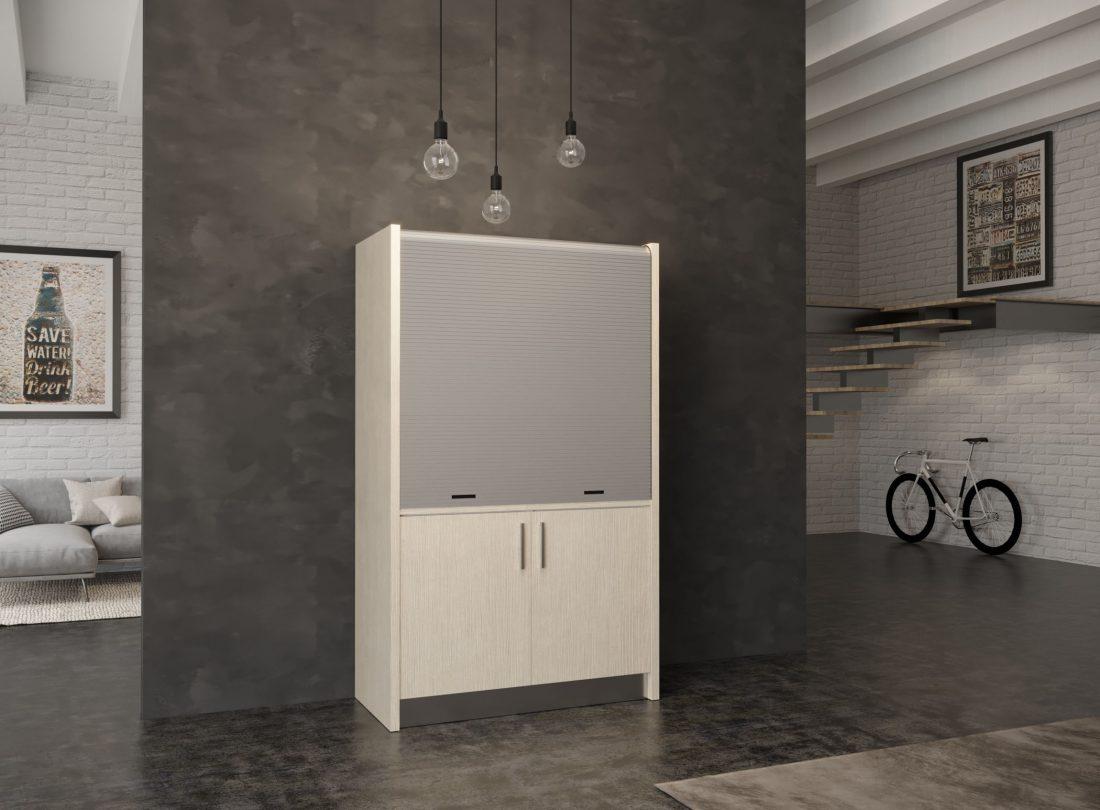 Salento 09, mini cucina con chiusura a serranda in finitura effetto larice chiaro