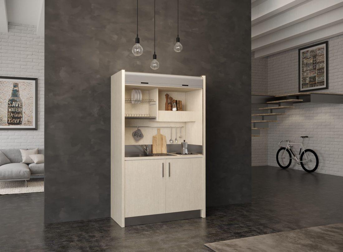 Salento 09, mini cucina monoblocco a scomparsa con piano due fuochi e frigo bar