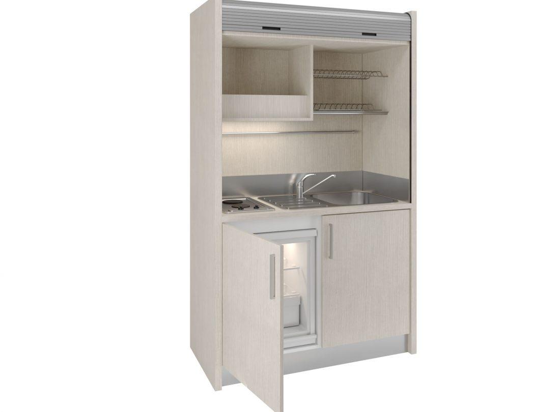 Salento 09, mini cucina con serranda di chiusura piano cottura a due zone e mini frigorifero sotto top