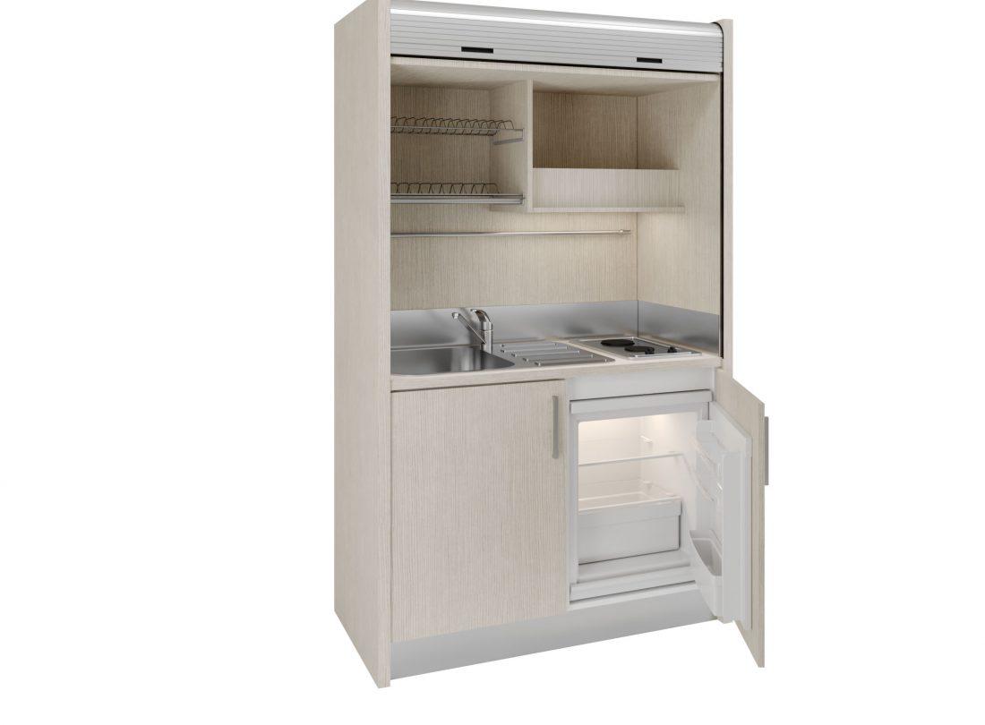 Salento 09, cucina monoblocco con serrandina con piano due fuochi e frigo sotto top