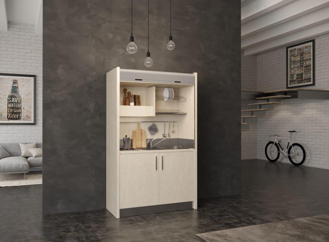 Salento 09, mini cucina a scomparsa con piano due fuochi a sinistra e lavello a destra
