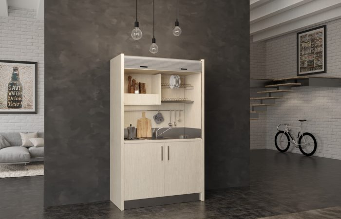 Salento - piccola cucina monoblocco a scomparsa con serranda