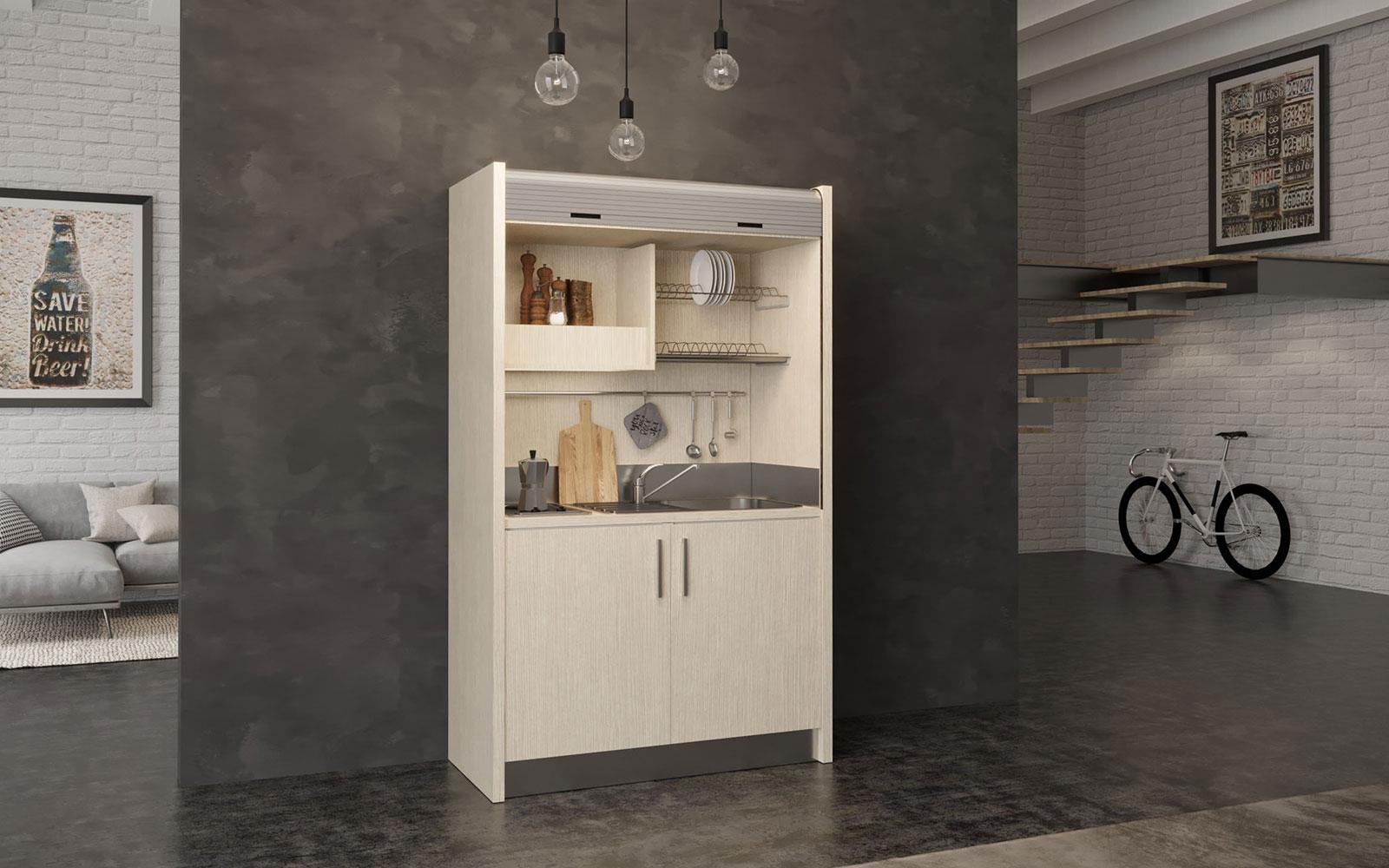 Salento DX - Cucina monoblocco a scomparsa con serranda 128cm
