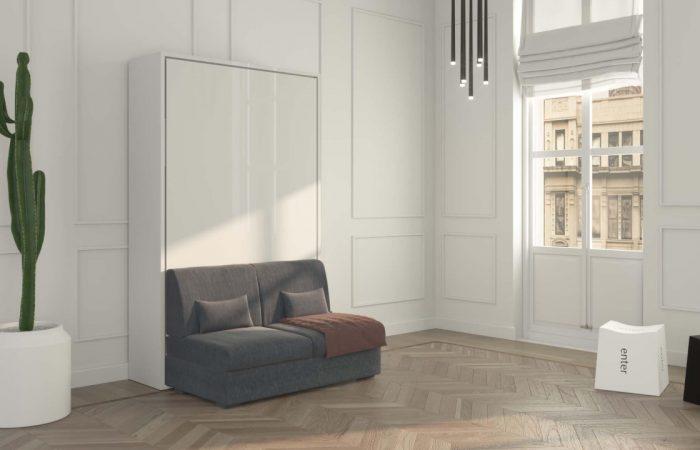 Preview del filmato dimostrativo del letto a scomparsa verticale 1 piazza e 1/2 con divano