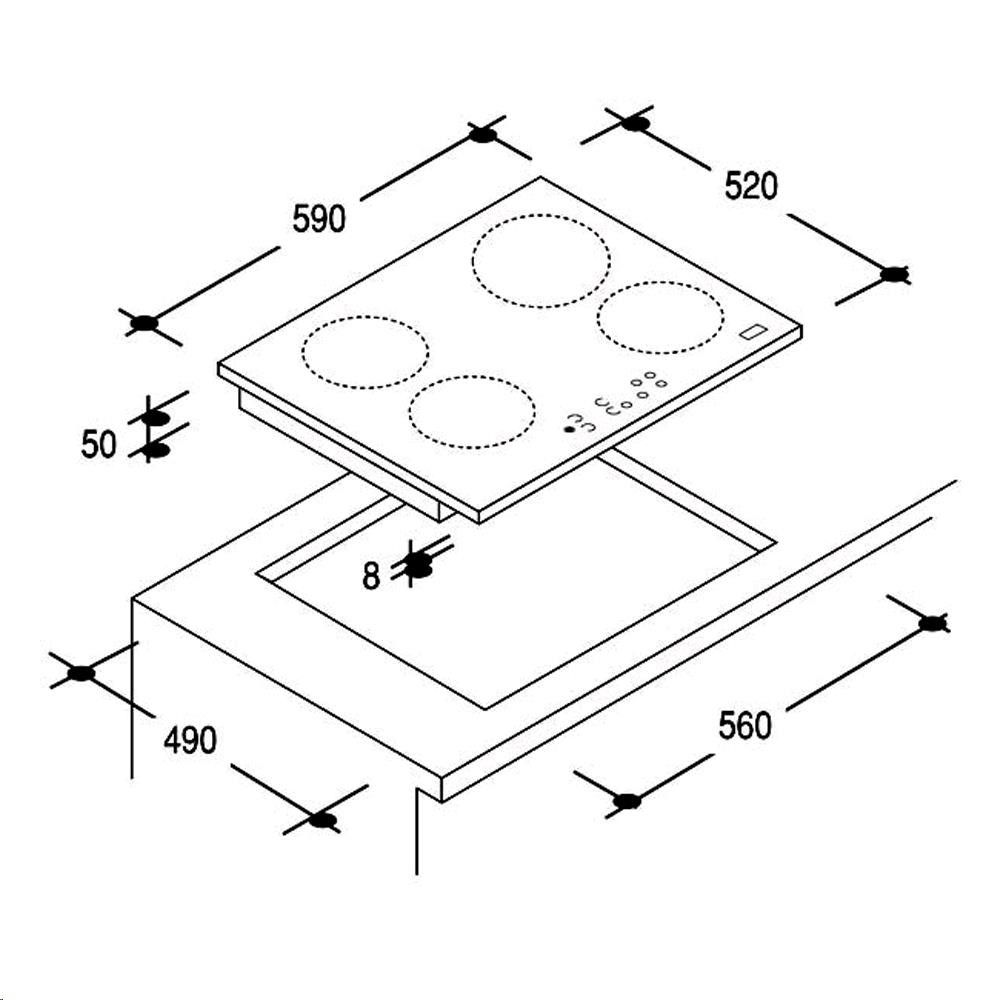 Piano cottura 4 zone a induzione 59x52cm by Candy