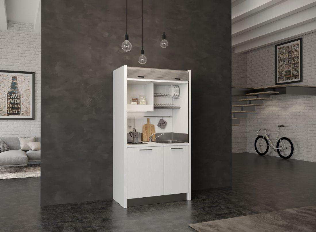 Micro cucina che entra davvero ovunque in spazi stretti