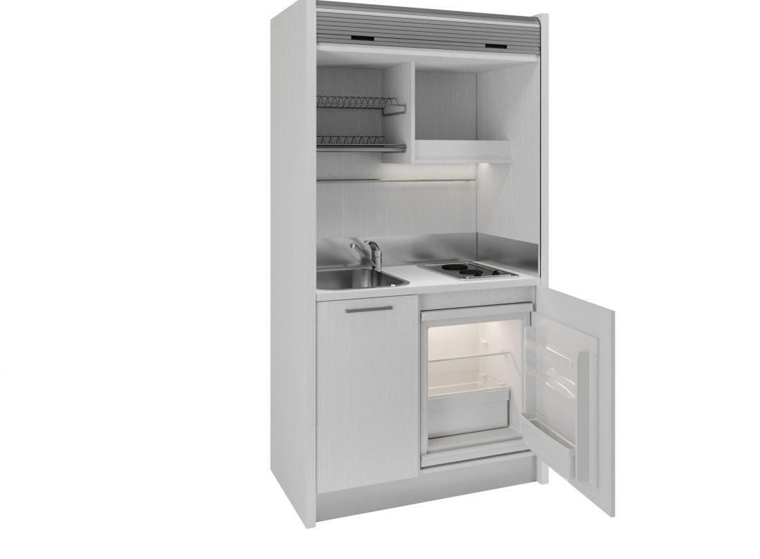 Tuscia 42 cucina a scomparsa con serranda aperta con mini frigo