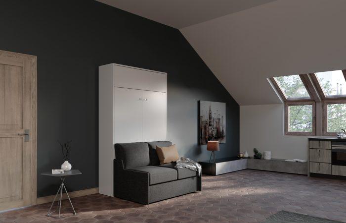 Letto richiudibile verticale con divano salvaspazio due posti