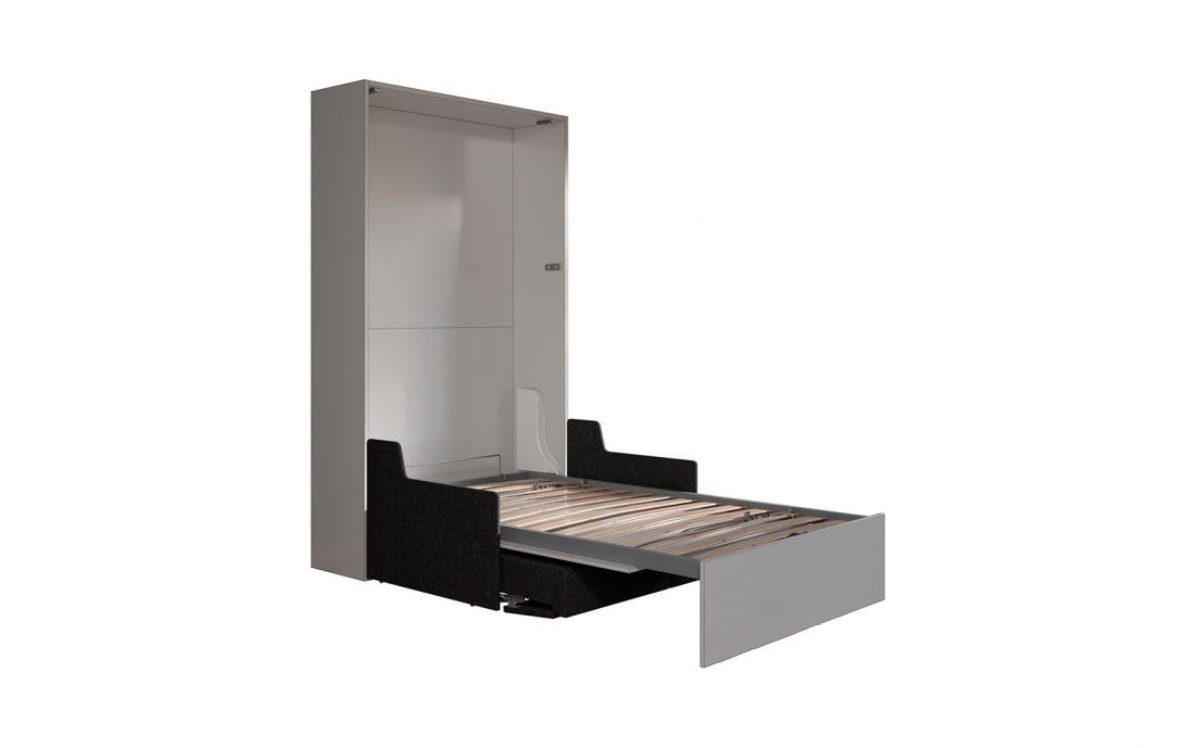 Mobile letto verticale richiudibile con movimento assistito e divano 2 posti
