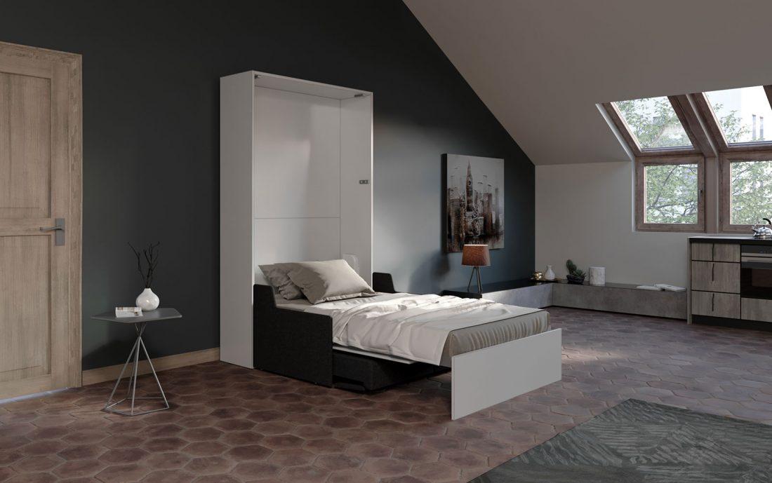 Comodo letto verticale richiudibile con divano per cameretta