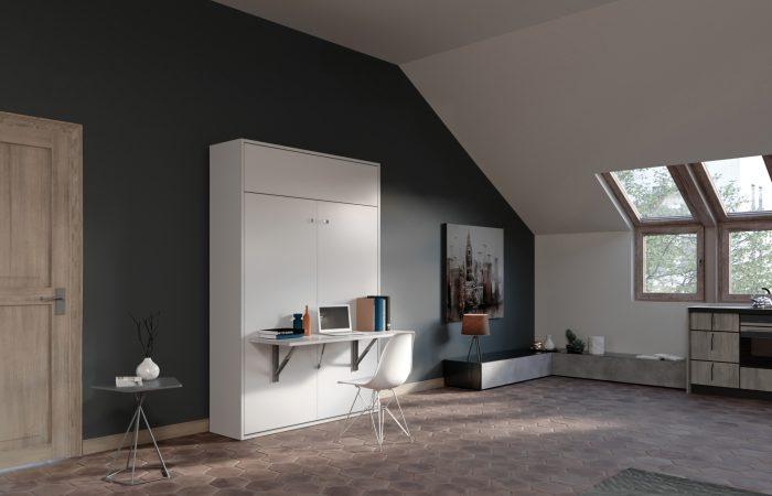 Letto a scomparsa due piazze con scrivania per piccoli appartamenti