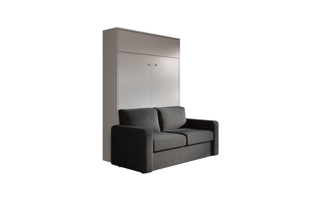 Letto due posti alla francese a scomparsa con divano automatico per monolocali