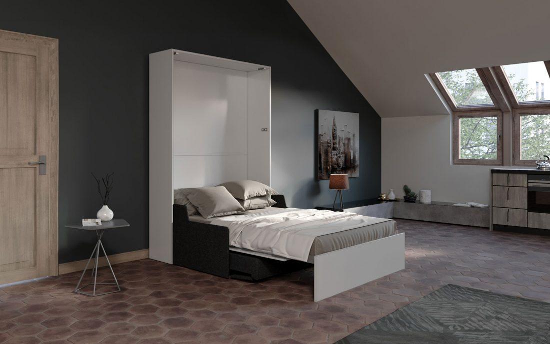 Mobile letto a scomparsa con divano automatico salvaspazio