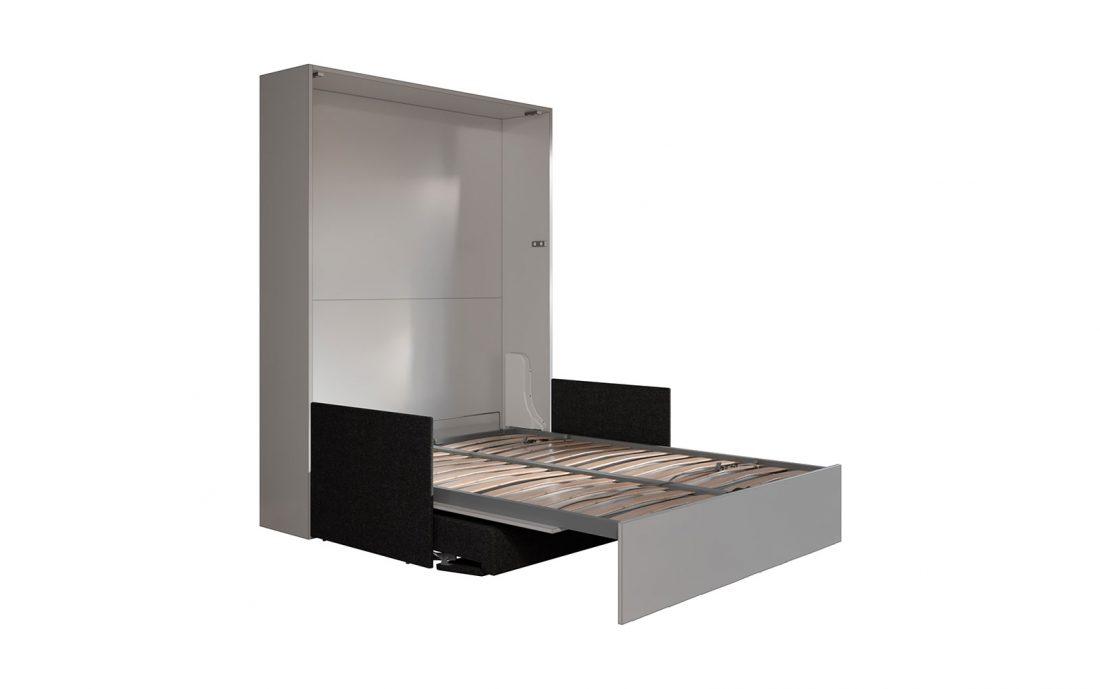 Letto 2 piazze a scomparsa con divano automatico per mini appartamento moderno