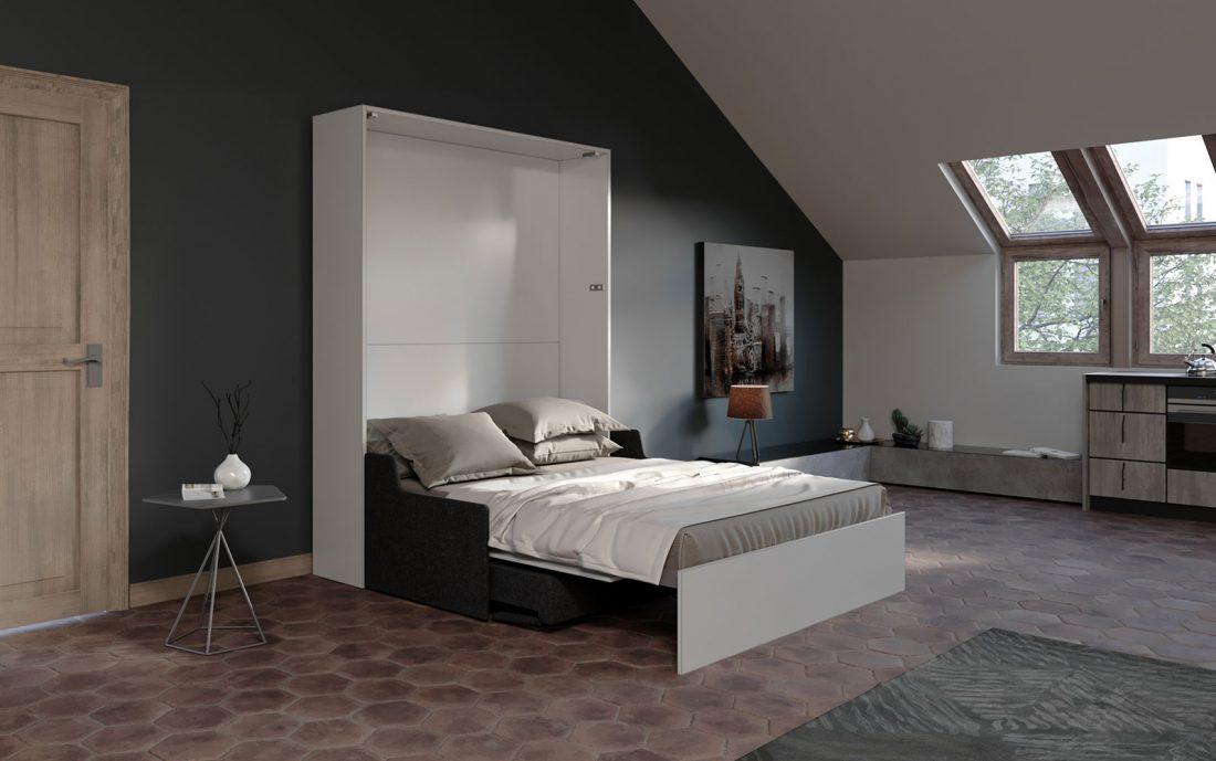 Mobile letto 2 piazze con divano salvaspazio automatico