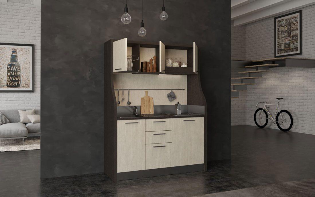 Cadore è la piccola cucina monoblocco completa con mini frigo e fornelli