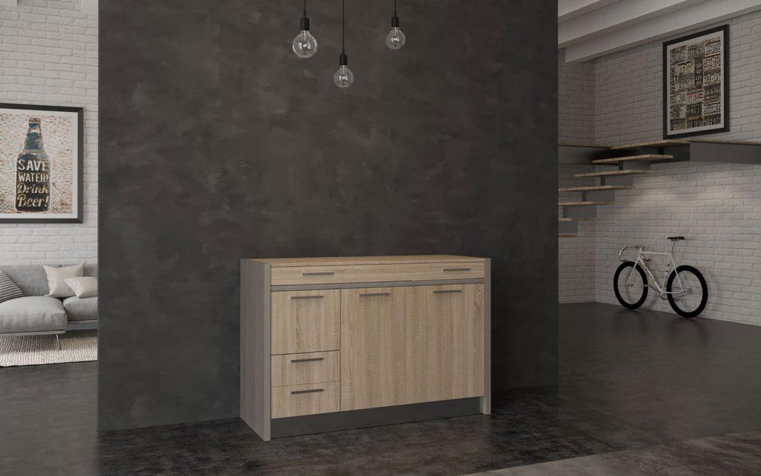 Una mini cucina a scomparsa a isola con coperchio per nascondere i fornelli