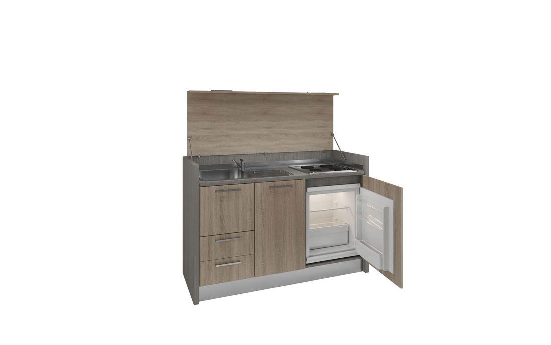 Una mini cucina completa con 4 fuochi a isola adatta a loft e spazi esterni