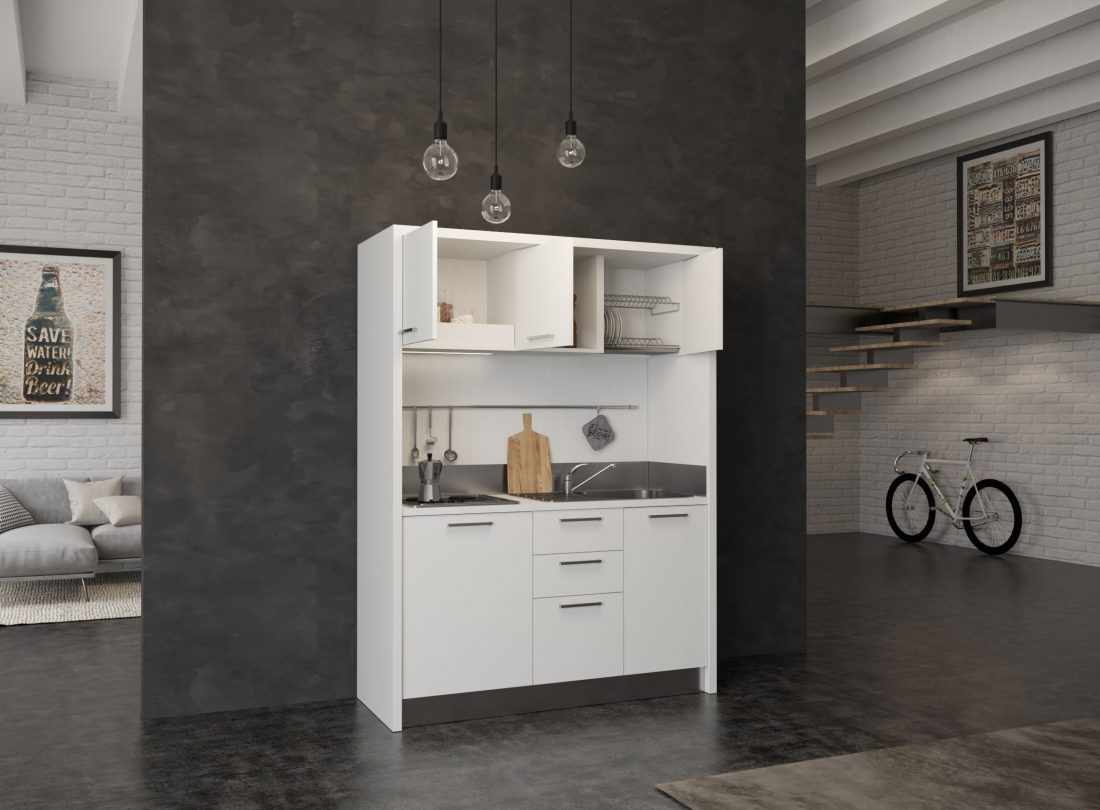 Circeo è una cucina compatta adatta a installazione in residence e hotel