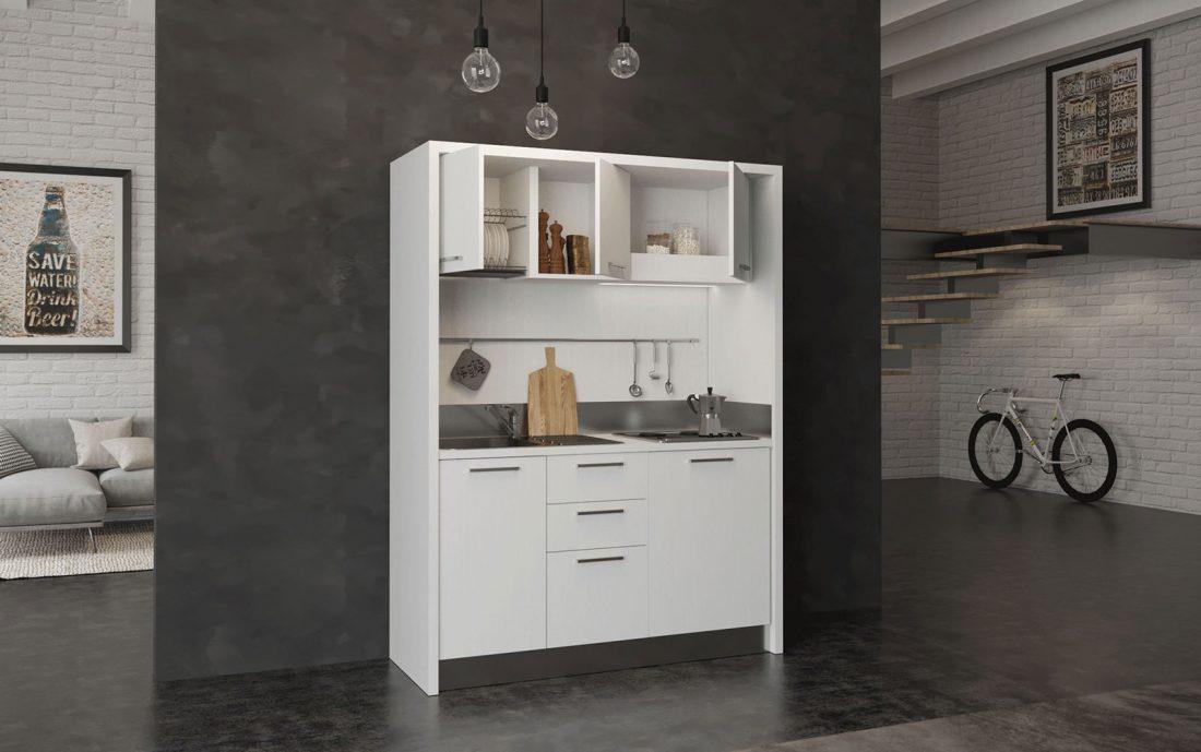 Circeo è una cucina monoblocco di facile installazione in soli 160cm